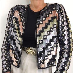Vintage Sequined Beaded Bolero Silk Jacket
